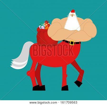 Santa Claus Centaur. Santa Monster. Half Man Half Horse. Christmas Illustration