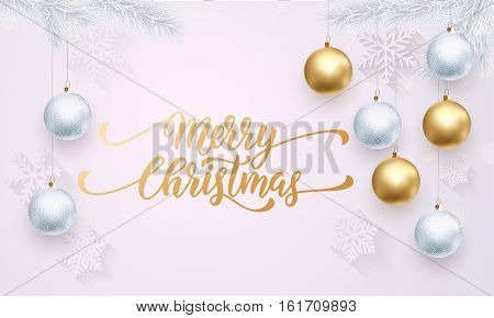 Golden decoration ornament with Christmas ball on vip white background with snowflake pattern. Premium luxury Christmas holiday greeting card. Gold calligraphy lettering Merry Christmas