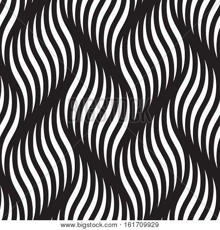 Abstract seamless pattern of braided curve lines. Vector background of braided curls twisted waves and wavy ripples. Smooth zigzag textile tracery wallpaper or wrapping paper