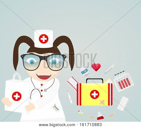 Vector illustration of a doctor. Medical icons assistance health pictures first aid kit
