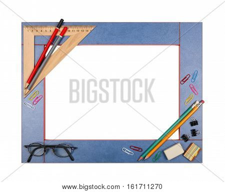 Blue art school frame with stationery - ruler square protractor eraser pencil glasses paper clips binder clip on a white background. Isolated