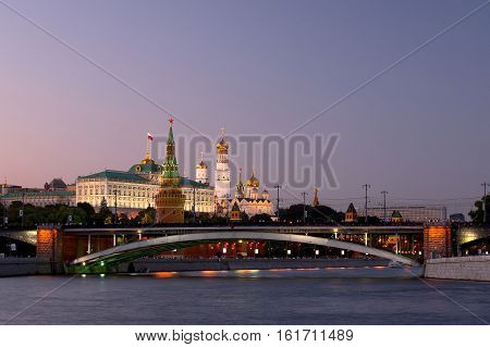 Moscow, Russia - Jun 12, 2010: Bolshoy Kamenny Bridge  and the Kremlin.