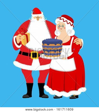 Santa And Mrs. Claus Isolated. Christmas Family. Woman In Red Dress And White Apron. Cheerful Elderl