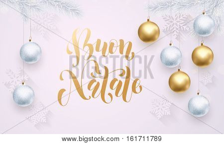 Italian Merry Christmas Buon Natale gold calligraphy lettering. Golden decoration ornament with Christmas ball on vip white background snowflake pattern. Premium luxury Christmas holiday greeting