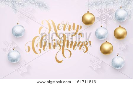 Gold calligraphy lettering Merry Christmas. Golden decoration ornament with Christmas ball on vip white background with snowflake pattern. Premium luxury Christmas holiday greeting card