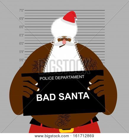 African American Santa At Police Station. Mugshot Black Santa Gangster. Afro Hairstyle And Red Chris