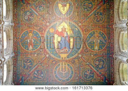ELY, ENGLAND - JUNE 28, 2016: Detail of the Nave ceiling of Ely Cathedral. The ceiling tells the story of the ancestry of Jesus - Adam Abraham David Mary.