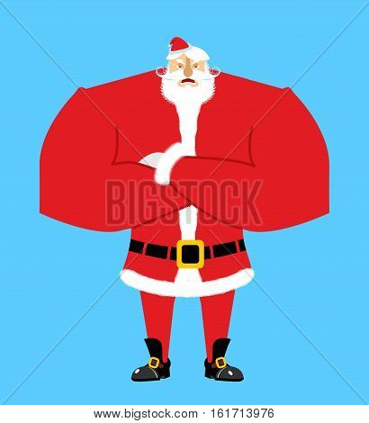Santa Angry. Aggressive Santa Claus. Christmas Grandfather With Beard And Mustache Isolated. New Yea