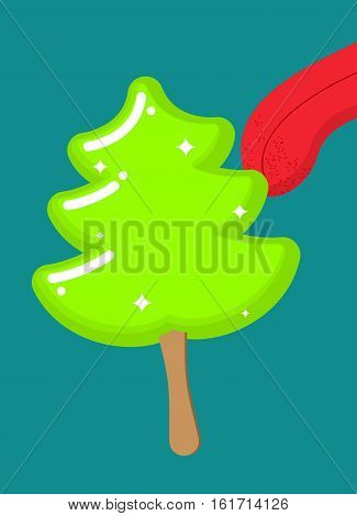 Christmas Tree Ice Cream Pistachio Lick. Popsicle On Stick In Form Of Green Fir-tree Licking Tongue.
