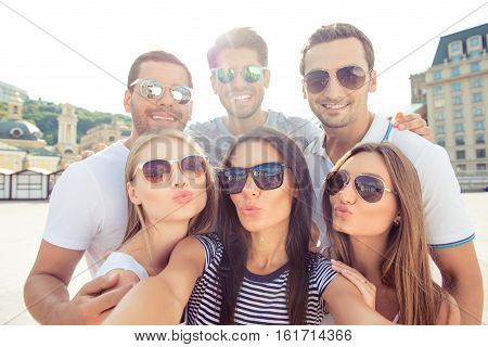 Selfie Of Happy Smiling Guys And Pretty Pouting Girls