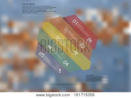 Illustration infographic template with motif of hexagon askew divided to five color sections. Blurred photo with texture of wooden board with blue color is used as background.