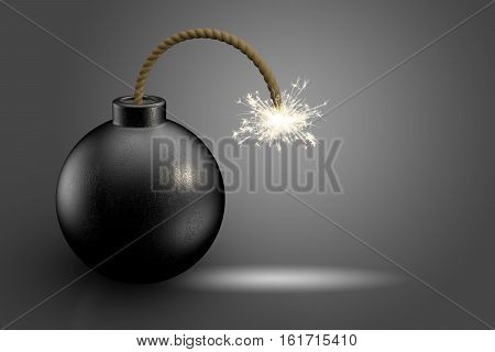 Bomb dynamite on dark background 3D rendering