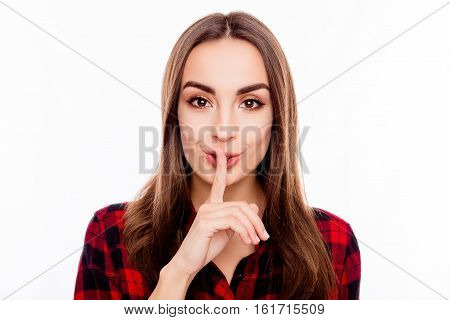 Pretty Woman In Red Checkered Shirt Showing Silent Gesture
