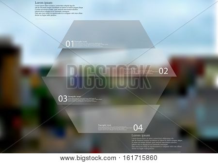 Illustration infographic template with motif of hexagon horizontally divided to four grey sections. Blurred photo with crossroad motif is used as background with streets in the town.