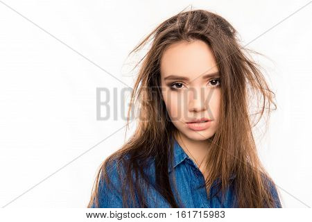 Portrait Of Sad Tired Pretty Young Girl With Damaged Hair