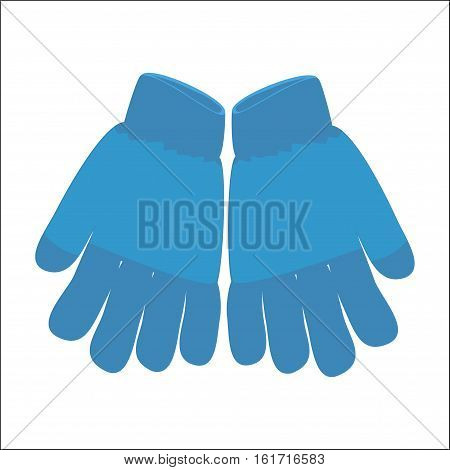 Winter Gloves Icon Symbol Design. Vector  Blue Wool Gloves Illustration Isolated On White Background