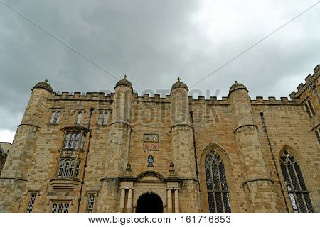 DURHAM, ENGLAND - JUNE 30 2016: Durham Castle - a Norman castle originally built in the 11th century it is part of University College. With the Durham Cathedral it is a UNESCO World Heritage Site.