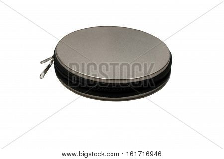 A metal pocket for storing CD discs isolated on white background. To many disks, zip.