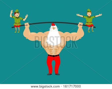 Strong Santa Lift Barbell With Elves. Powerlifting Elf Gravity. Sports Merry Christmas. Claus Bodybu