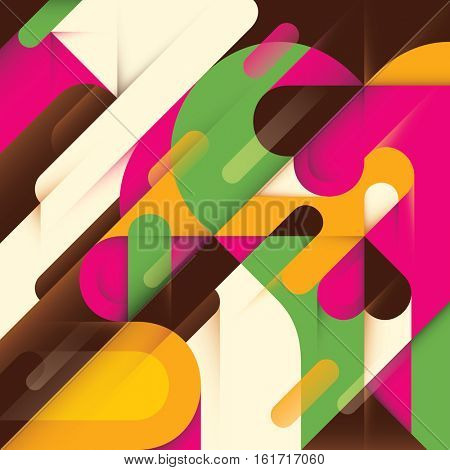 Colorful abstract style composition. Vector illustration.