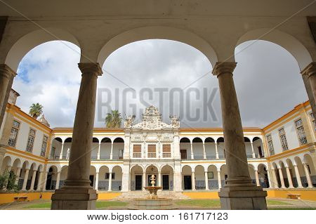 EVORA, PORTUGAL - OCTOBER 11, 2016: The University (Antiga Universidade) with Arcades and marble columns