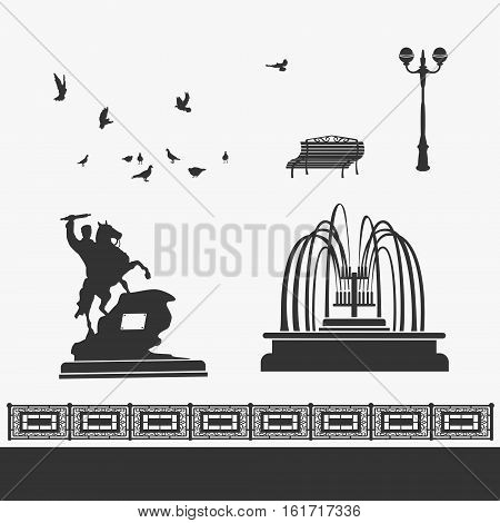 City Park and Landmarks Vector Signs eps 8 file format