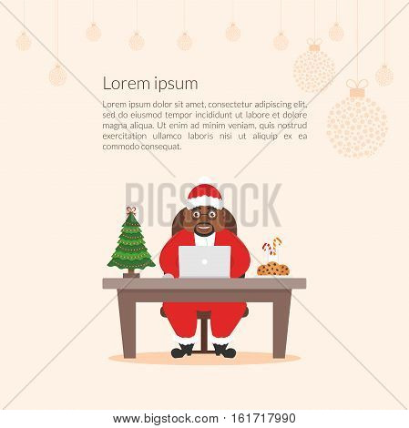Merry Christmas and Happy New Year decorated workplace office. Cute cartoon character businessman african Santa Claus. Christmas illustration. Xmas tree. Flat design vector.