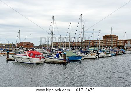 HARTLEPOOL, UK - JUNE 30 2016: Hartlepool Marina one of the most modern Marina facilities in Europe featuring one of Europe's biggest boat hoists and attracting hundreds of vessels.