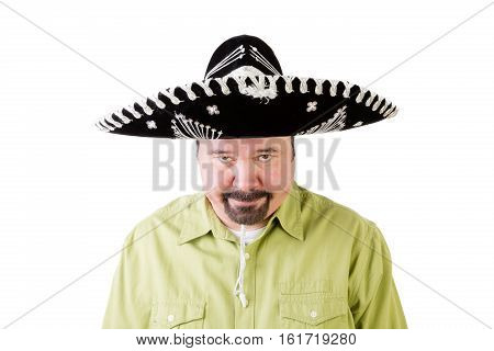 Grumpy Middle Aged Man In Mexico Sombrero Hat