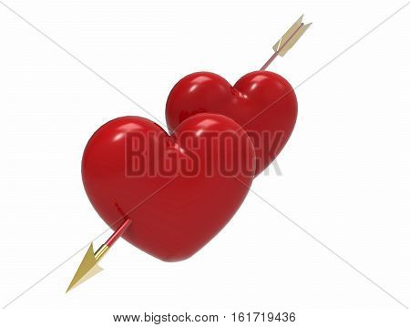 Two hearts pierced by an arrow on white background 3D render