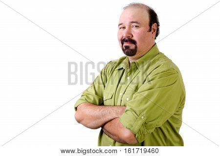 Confident Middle Aged Man Looking Over Shoulder