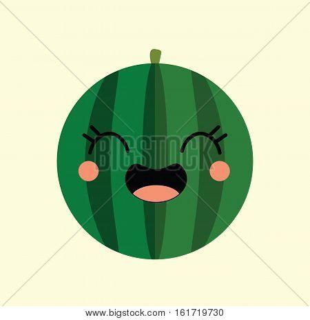 watermelon kawaii cartoon cute fruit design flat icon vector stock