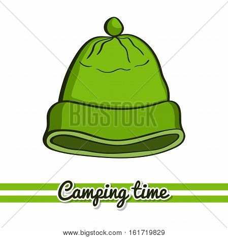 Hand drawn hat isolated on white background. One image of series Camping time. Vector illustration