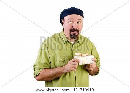 Nervous Middle Aged Man With Wrapped Present