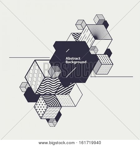 Abstract geometric poster with decorative cubes and place for text