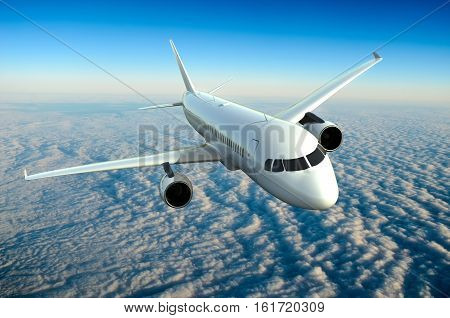 Airplane in the sky with clouds 3D rendering