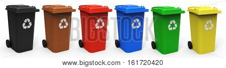 Different colors recycle bins isolated on white background 3D rendering