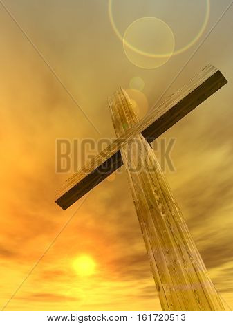 3D illustration conceptual wood cross or religion symbol shape over a sunset sky with clouds background