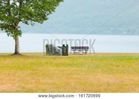 Picnic Site Table And Benches Near Fjord In Norway,