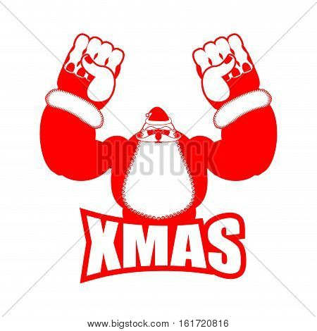 Fitness Xmas. Strong Angry Santa With Big Fists. New Year Gym Logo. Christmas Fight Club Emblem