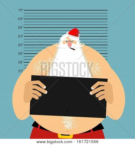 Mugshot Santa In Police. Bad Claus Criminal. Naughty Santa With Cigar. Crime Christmas. Suspect New