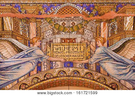 BERLIN, GERMANY - SEP 3, 2015: Great colorful mosaic with cherubs inside the Kaiser Wilhelm Memorial Church on September 3, 2015. Church was built in the 1890s