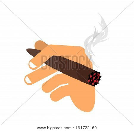 Hand With Cigar Isolated. Men Hand Holding Smoke Cigarette. Finger And Havana