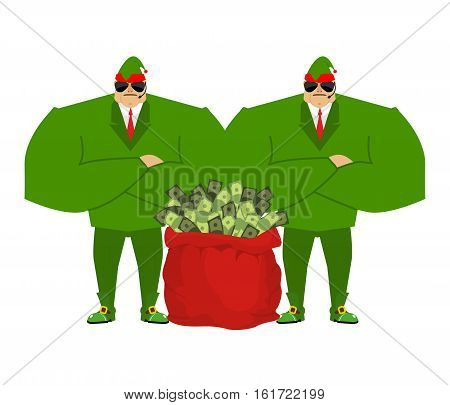 Santa Elf And Red Bag Full Money. Claus Bodyguards. Christmas Guards. Protecting Red Sack With Cash.