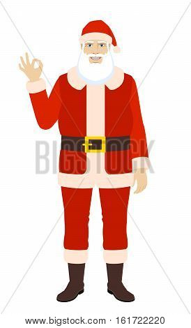 OK! Smiling Santa Claus show a okay hand sign. Full length portrait of Santa Claus in a flat style. Vector illustration.