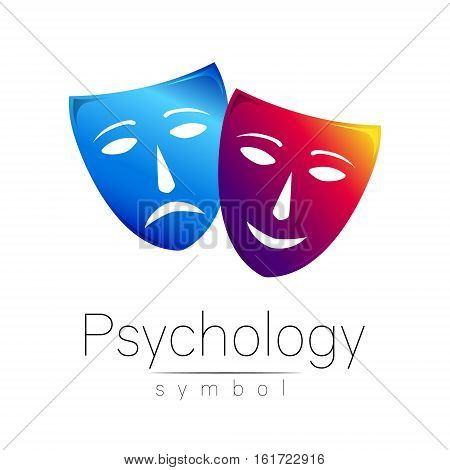 Two masks with different emotions. Vector illustration. Blue and violet color. Modern sign of Psychology. Design concept. Brand company. Icon for web, print, card