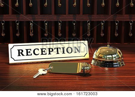 Reception with hotel key and bell 3D rendering