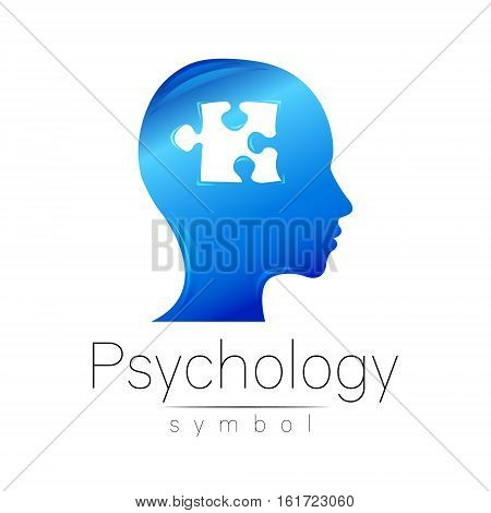 Modern head sign of Psychology. Puzle. Profile Human. Creative style. Symbol in vector. Design concept. Brand company. Blue color isolated on white background. Icon for web