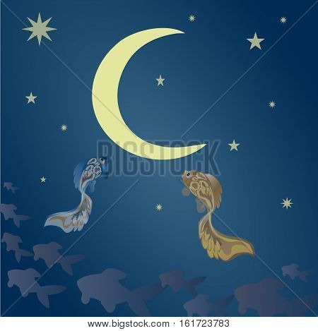 Fabulous fish in the sky, in a astonishment looking at the moon. Vector illustration suitable for illustrating mysteries, covert, unusual and enigmatic stories, fantasy, fairy tales, etc. Square.