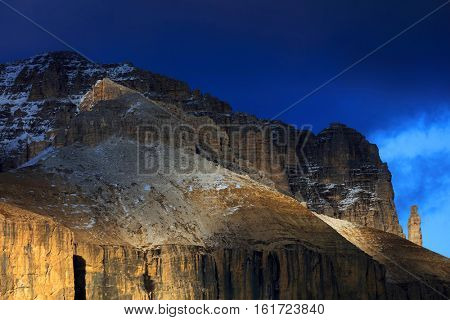 View of top of Sella gruppe or Gruppo di Sella, South Tirol, Dolomites mountains, Italy